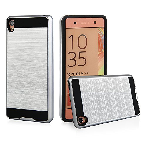 EGO® Hard Case Schutz Hülle für Sony Xperia XA, Gold Metallic Effect Aluminium Brushed Handy Cover Schale Bumper Etui Top-Qualität Silber