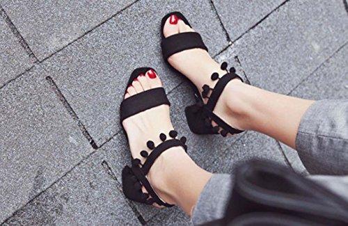 NobS Suede Tassel One Type De Sandales Chaussures Femmes Grande Taille Black