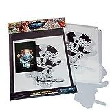 SCHNEIDMEISTER Airbrush Schablone SM-HBSM08 Pokerface Skull mit Zigarre, ca. A4