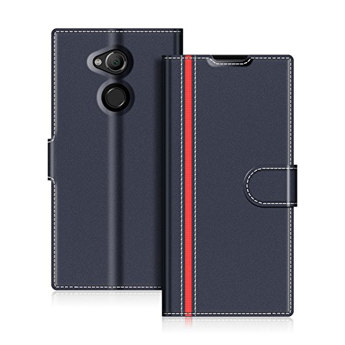 COODIO Handyhülle für Sony Xperia XA2 Ultra Handy Hülle, Sony Xperia XA2 Ultra Hülle Leder Handytasche für Sony Xperia XA2 Ultra Klapphülle Tasche, Dunkel Blau/Rot
