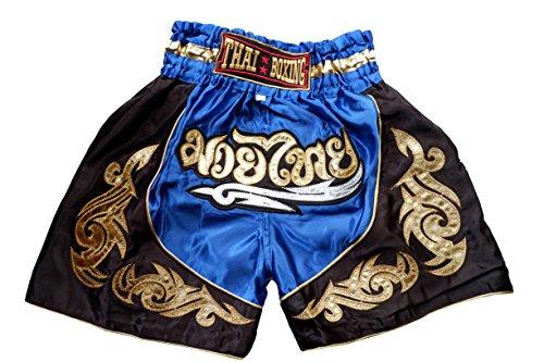 Nakarad Pantalones Cortos de Muay Thai para niños (2-10Años) Nuevos Modelos (M(9-10Años), Azul)