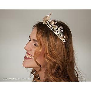 Vintage Braut goldene Tiara rosé
