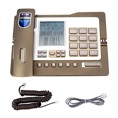 Qiterr Festnetztelefon, G026 Einfaches Tischtelefon für den Heimarbeitsplatz(Gold) Paging-adapter