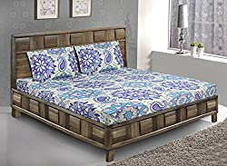 Bombay Dyeing double bedsheet with 2 pillow covers-Breeze-Blue