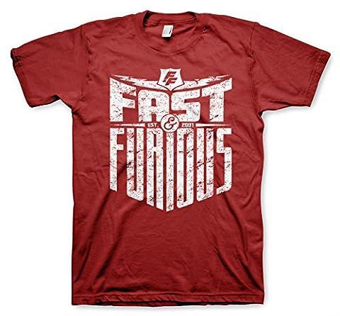 Officiellement Sous Licence Fast & Furious - Est. 2007 Hommes T-Shirt (T.Rouge), Large