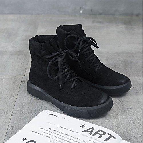 HSXZ Scarpe donna pu inverno Comfort Cowboy / Western Stivali Stivali tacco piatto rotondo Mid-Calf Toe stivali per outdoor casual nero di mandorla Almond