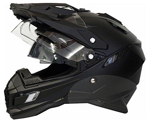 Motorradhelm MX Enduro Quad Helm matt schwarz mit Visier und Sonnenblende Gr. XL