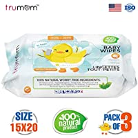 Trumom Hypoallergenic 100% Natural Vitamin E Baby Wipes, White, 80 Wipes (Pack of 3)