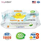 #10: Trumom Hypoallergenic 100% Natural Vitamin E Baby Wipes, White, 80 Wipes (Pack of 3)