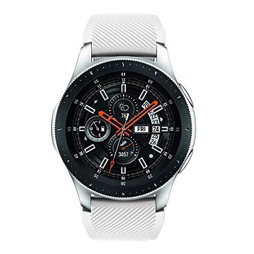 Vamoro Soft Silicone Watch Band Replacement Band Strap for Samsung Galaxy Watch 46mm Watch Straps Silikon Uhrenarmband mit Schnellverschluss(Weiß)