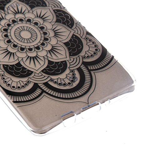 Ekakashop Transparente Flexible TPU Couqe pour Samsung Galaxy A5, Ultra Mince Doux Soft Silicone Protectrice Couverture Housse pour Galaxy A5 5.0 pouces, Motifs de Attrape Reve Cas Case Back Cover Def Mandala Floral Noir