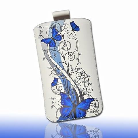 Handy Tasche Hülle Case weiß / blau Butterfly DK3 Gr.3