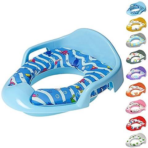 Réducteur de toilette | Grande sélection de beaux réducteurs de toilette pour enfants et bébés | assise rembourrée, amovible et facile à nettoyer (Bleu)