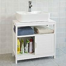 SoBuy®Mueble para debajo del lavabo,armario de baño de suelo,1 estante y 2 puertas correderas,H60cm,FRG128-W,ES