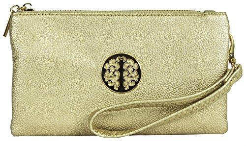 Big Handbag Shop Damen Handtasche, Kunstleder, Mini Etui Tasche zu tragen Gold-Metallic