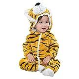 CHIC-CHIC Pyjama Ensemble de Pyjama Dors Bien Enfant Bébé Combinaison Hiver Forme Animal Déguisement Manteau Chaud Tigre 24-36mois