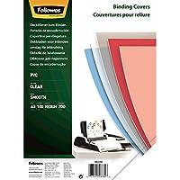 Fellowes Portadas para encuadernar de PVC transparente, formato A3, 200 micras, pack de 100