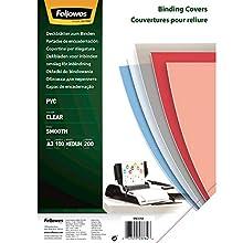 Fellowes 53764 Copertine per Rilegatura in PVC Trasparente, Formato A3, 200 Micron, Confezione da 100 Pezzi
