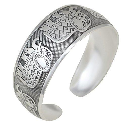 Bodya argento tibetano intagliato a forma di elefante ad arco che collega rami bracciale largo bracciale bracciale bracciale rigido