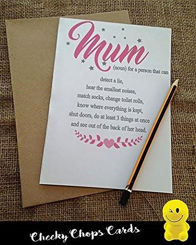 Funny Rude Cheeky die Koteletts Karten–Geburtstag/Mama/Mutter–Mum The Noun–js186