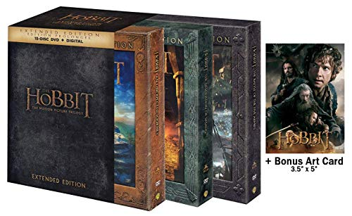 The Hobbit Trilogy Extended Motion Pictures: 15 Disc Complete Epic DVD Collection + Never Before Seen Footage & Art Card