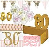 32 Teile Dekorations Set zum 80. Geburtstag oder Jubiläum - Party Deko in Rosa & Gold