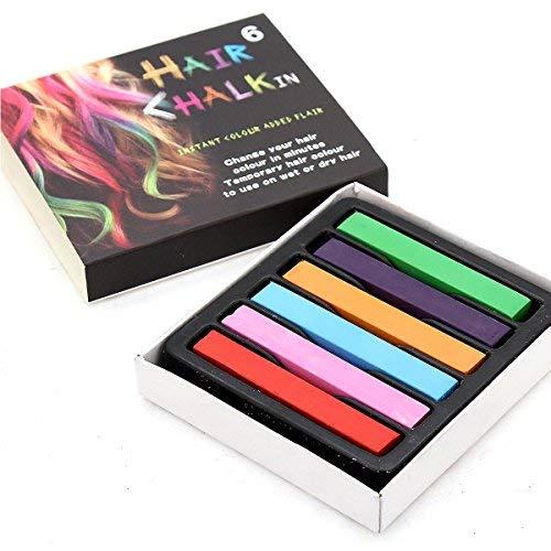 Temporal Color Tiza Para Pelo Pastel Tinte para todo tipo del pelo 100% No Tóxico de 6 PC por Trimming...