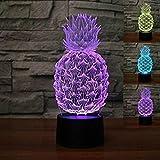 3D Ananas Optische Illusions-Lampen, Tolle 7 Farbwechsel Acryl berühren Tabelle Schreibtisch-Nachtlicht mit USB-Kabel für Kinder Schlafzimmer Geburtstagsgeschenke Geschenk