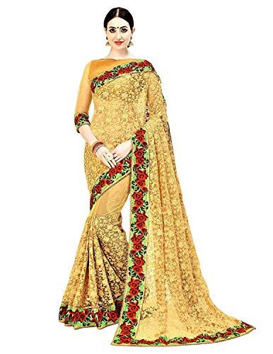 Arohi Designer Women\'s Net Embroidered Saree with Blouse Piece (Mustard, Free Size)