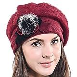 Damen Barette Künstler Wolle Baskenmütze Angora Beanie Winter Mütze BR022 (Rotwein)