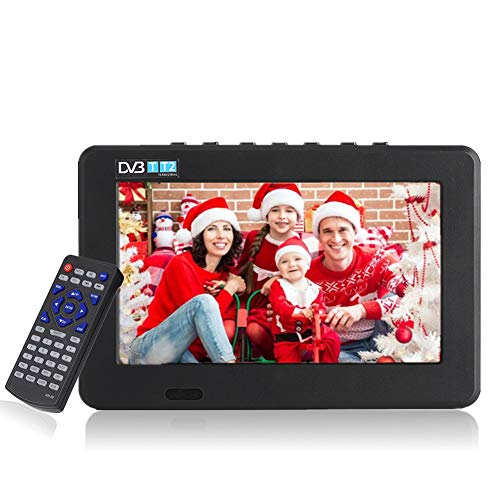 11,6 Pulgadas TV portátil, LED pequeña Televisión con TDT DVB-T/T2 Dos Altavoz TV Digital con 1500 mAh baterías Recargables y Mando a Distancia para cámara, Cocina, Caravana, Coche. (7')