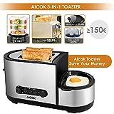 Aicok Toaster, 3 in 1 praktischer Automatik Toaster mit Eierkocher und elektrischee Pfannen, (1250 Watt, bis zu 7 Bräunungsstufen und 2 Brotscheiben, gebürsteter Edelstahl) - 3