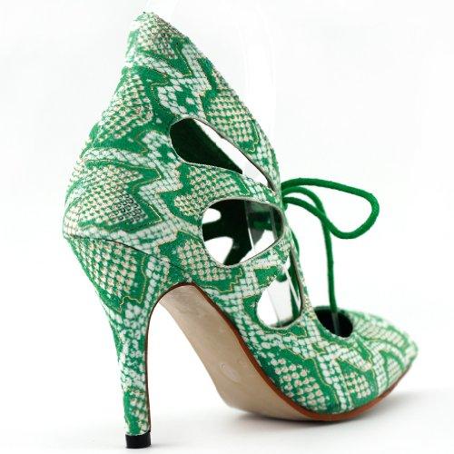 Show Story sexy a punta con lacci e punta cut-out stiletto pompa dell'alto tallone, LF60601 Verde