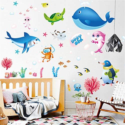 (Mddrr Tiefsee Kreaturen Cartoon Ozean Fisch Wandaufkleber Kinderzimmer Klassenzimmer Schlafzimmer Wohnzimmer Dekoration Abnehmbare Aufkleber Abziehbilder)