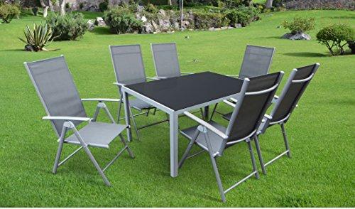 Mandalika Living 7-teilige Aluminium Textilen Gartenmöbelgruppe, 6 Klappsessel Bolero und EIN Gartentisch Dacore 140x90 mit Sicherheitsglasplatte, Silber