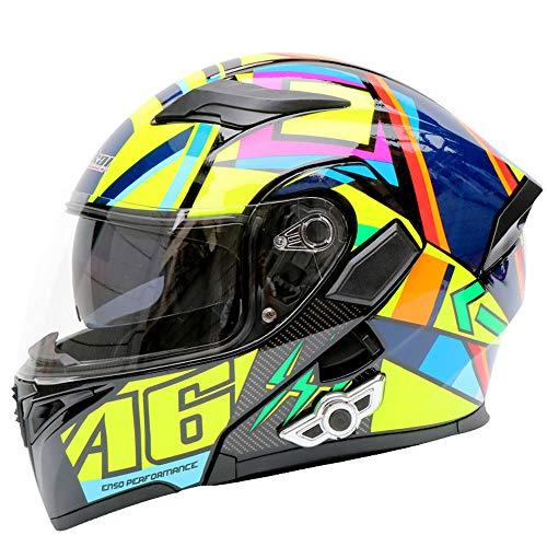 AYUE® Modular Helm Motorrad-Unfall Motorrad D.O.T Zertifizierungs-Full Face Racing Bluetooth Helme Flip vorne Automatische Antwort Anti-Fog Double Mirror,M (Helm Racing Antwort)