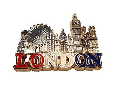 Londres en Métal Aimant de Réfrigérateur - Couleur Argenté/ Eye / Tower Bridge Big Ben/Cathédrale Saint-Paul/Abbaye de Westminster/Royal Guard/Cabine Téléphonique/Double Decker Bus/Angleterre