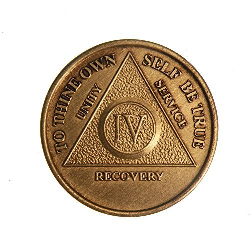 Produktbild 4 Year Bronze AA (Alcoholics Anonymous) - Sober / Sobriety / Birthday / Anniversary / Recovery / Medallion / Coin / Chip