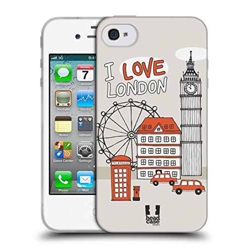 Head Case Designs Tour Di New York Doodle Di Citta Cover Morbida In Gel Per Apple iPhone 5 / 5s / SE Viaggio A Londra