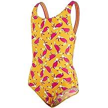 Speedo Girls 'Samba plumas Crossback Bañador, niña, color Mango/Electric Pink/White, tamaño talla 30