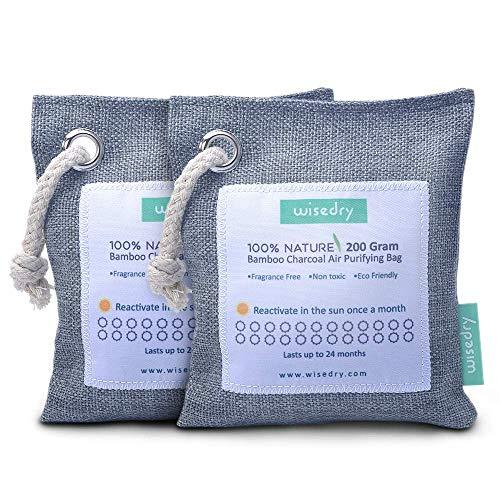 Wisedry 200 g x 2 Packungen Luftreinigende Tasche Bambuskohle Aktiv-Lufterfrischer Auto Luftentfeuchter umweltfreundlich 100% natürliche Feuchtigkeit, Geruchsabsorber Geruchsabsorber Beutel -