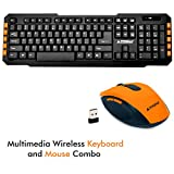 PRODOT Compact and Portable Combo of 2.4Ghz Multimedia Wireless Keyboard and Mouse (PDTLC107+175, Peel Orange)