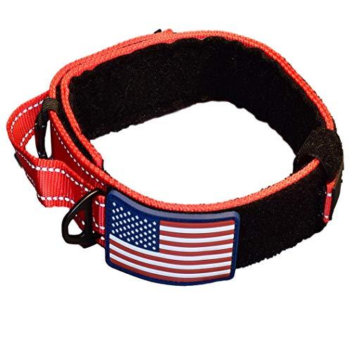 Hundehalsband mit Kontrollgriff, Militär-Stil, Metall, schnellöffnend, taktische Schnalle, robust, 5,1 cm breit, Nylon mit USA-Flagge, ideal für das Handling und Training, RED NEW BUCKLE