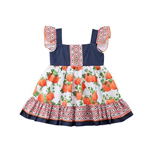 Coconute Mädchen Kleid Kinder Ärmel Rüschen Halloween Kürbis Print Stitching Dress Sisters A-Linie Prinzessin Maedchen Kleid Partykleid Mädchen Sommer Kurzarm T-Shirt Kleid(Orange,100)