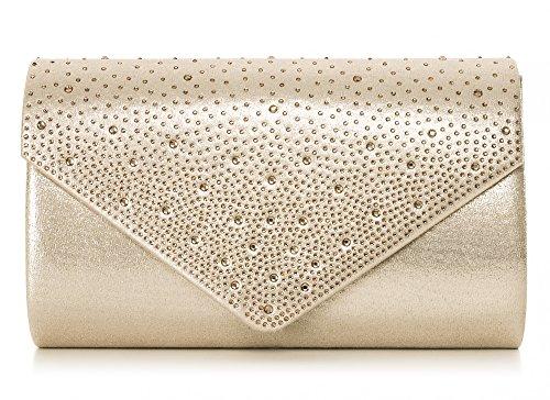 VINCENT PEREZ Damen Clutch Abendtasche Unterarmtasche Umhängetasche mit Strass-Steinen und abnehmbarer Kette in den Farben Silber Gold Altrosa (120 cm), 22 x 13 x 5,5 cm (B x H x T), Farbe:Gold