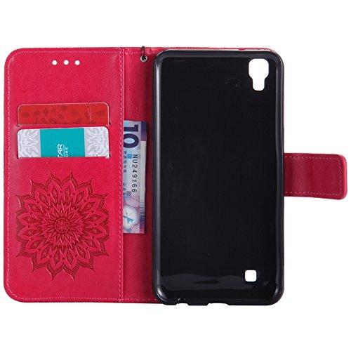 YHUISEN LG X Power Case, Sun Flower Druck Design PU Leder Flip Wallet Lanyard Schutzhülle mit Card Slot / Stand für LG X Power ( Color : Blue ) Red