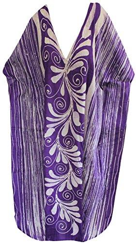 La Leela lange Kaftan Bademode Badebekleidung Baumwolle Hand Batik Frauen Nacht tragen Kleid evevning Lila 4