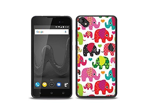 etuo Wiko Sunny 2 Plus - Hülle Fantastic Case - Bunte Elefanten - Handyhülle Schutzhülle Etui Case Cover Tasche für Handy