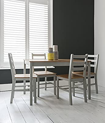 Annika Dining Table and 4 Chairs in Silk Grey and Natural Pine