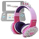 Duragadget Casque audio enfant pour console de jeux Nintendo 2DS XL - couronne princesse rose